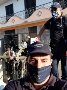 Nemmeno l'afa e la domenica fermano la protezione civile sidicina: disinfezione a S. Giuliano